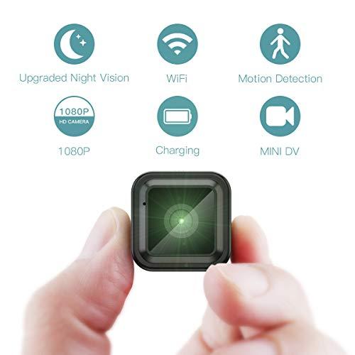 CACAGOO Mini Telecamera Spia Nascosta Wireless, 1080P HD Visione Notturna Portatile Videocamera Di Sorveglianza, Registrazione Video e Rilevamento del Movimento per Casa, Automobile, Drone, Ufficio