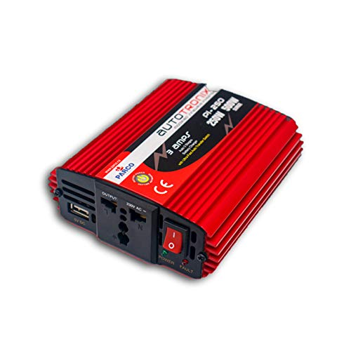 PARCO 250W Car Power Inverter DC 12V to 220V AC Car Converter, Universal AC Socket and USB Fast Charger for Mobile Laptop