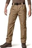 CQR Men's Tactical Pants, Water Repellent Ripstop Cargo Pants, Lightweight EDC Hiking Work Pants, Outdoor Apparel, Duratex Ripstop Coyote, 34W x 30L