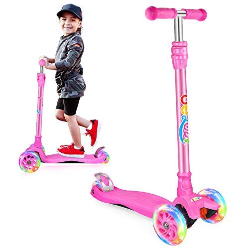 Beleev Kick Scooter for Kids, 3 Wheel Scooter for Toddlers Girls Boys, Adjustable Height, Light up Wheels for Children (Matte Pink)