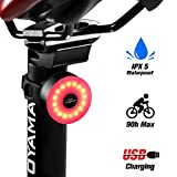 DONPEREGRINO M2 - Luz Trasera Bici Compacta hasta 90 Horas de Autonomía, LED Luz Bicicleta USB Recargable con 5 Modos Fijos e Intermitentes