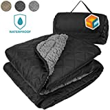 """Sun SUBE Waterproof Picnic Blanket, Wearable Sherpa Blanket for Stadium and Sports   Warm Camping Blanket for Road Trip, Park, Car Emergency, Beach, Dog   Portable Quilted Fleece Mat 50"""" x 60"""""""