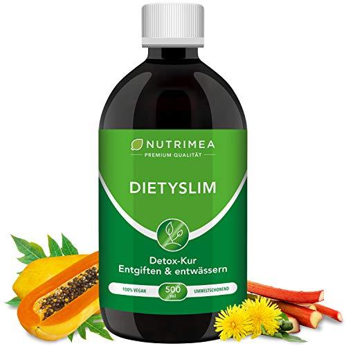 DETOX-Kur DietySlim 100% Vegan   Natürlich Leber & Körper entgiften & Abnehmen   6 Wöchige Entgiftungskur   Entgiften, Entschlacken, Entwässern Reinigung Flüssig 500ml Grüner Tee Guarana Diät