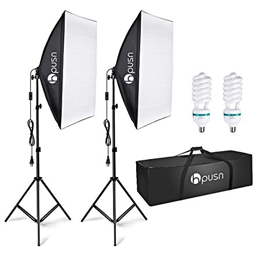 HPUSN Softbox Lighting Kit Professional Studio Photography Continuous Equipment with 85W...