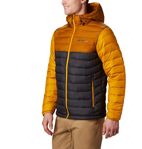 Columbia Herren Powder Lite Kapuzenjacke, Grau/Gelb (Shark, Burnished Amber), L