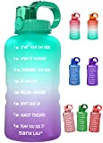 SANKUU Large 1 Gallon/128oz Gallon Water Bottle Motivational with Time Marker & Straw, Leakproof Water Jug Ensure You Drink Daily Water Throughout The Fitness Day (Purple/Blue Gradient)