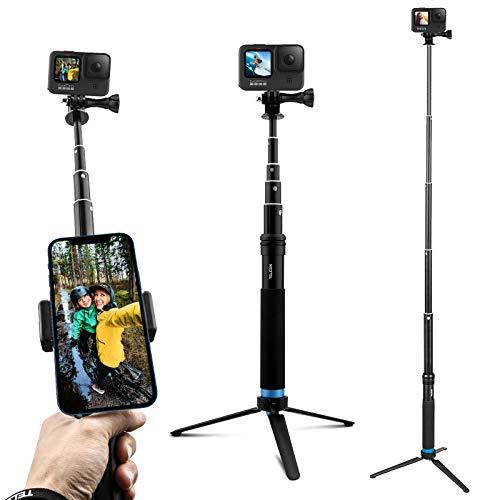 AuyKoo Bastone Selfie per Gopro,Impermeabile Treppiede in Lega di Alluminio+Clip per Smartphone Adatto Monopiede per GoPro Hero 10 9 8 7 6 5 4 Black,SJCAM,Sony,Insta360,DJI OSMO,Xiaomi Yi,AKASO,SARGO