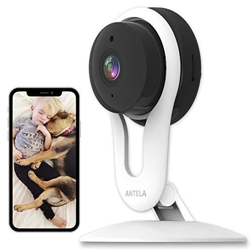 Videocamera di Sicurezza Domestica 1080P, ANTELA Telecamera Wi-Fi Interno Compatibile con Alexa ,Telecamera IP per Bambini con Sensore Rilevamento Movimento, Audio Bidirezionale,Visione Notturna