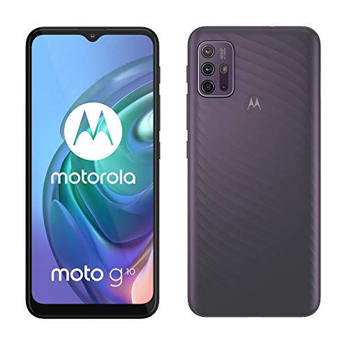 """moto g10 Dual-SIM Smartphone (6,5""""-HD+-Display, 48-MP-Vierfach-Kamerasystem, 64 GB/4 GB, 5000 mAh-Akku, Android 11) Grau mit Perlmutt-Effekt, inkl. Schutzcover + KFZ-Adapter [Exklusiv bei Amazon]"""
