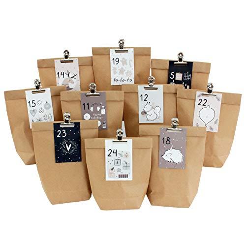Papierdrachen Calendario de Adviento DIY para Rellenar - 24 Bolsas de Regalo y 24 Tarjetas de Visita con números y Clips metálicos - Rosa-Azul - Bricolaje - Navidad