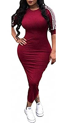 Material: Stretchy venetian including 71%-80% polyester Classic stripe short sleeve bandage fitted club party mid length midi dress Occasion: party, club, evening, cocktail, bussiness, holiday, formal and casual Simple design but quite fashionable, t...