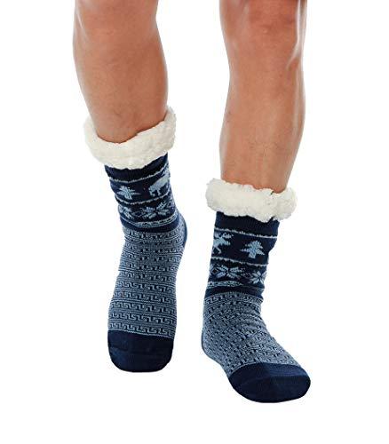 WYTartist Calze a Pantofola Uomo Calzini Invernali per Casa Suola Antiscivolo Calzini per la Casa Calzini Casuali per Maglieria Calzini Termici Comodi e Traspiranti (Elk (Blue))