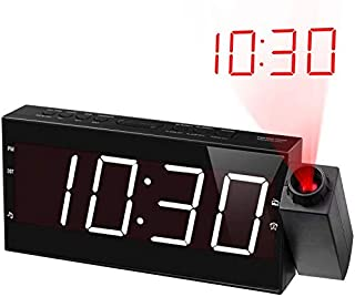 Projection Alarm Clock Radio for Bedrooms,Wall Ceiling Clock with FM Radio,180°..