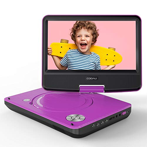 COOAU 11 Portable DVD Player with Eye Protection HD Swivel Screen, Support Power Bank Charging, Last Memory Function, Region Free, SD/USB/AV-Out Port, Purple