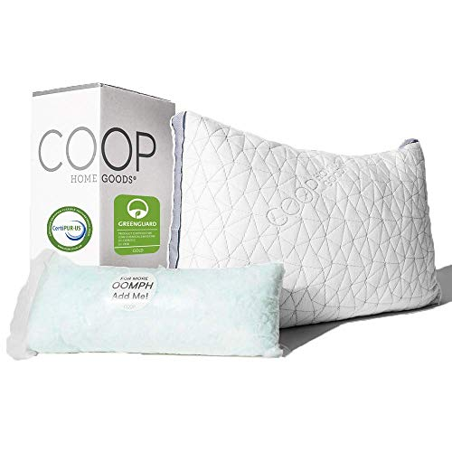 Coop Home Goods - Eden Adjustable Pillow - Hypoallergenic Shredded Memory Foam with Cooling Gel - Lulltra Washable Cover from Bamboo Derived Rayon - CertiPUR-US/GREENGUARD Gold Certified - King