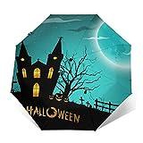 Paraguas plegable ligero portátil de viaje con revestimiento de pegamento negro anti UV – Castillo de Halloween Luna llena Bosque de golf paraguas impermeables