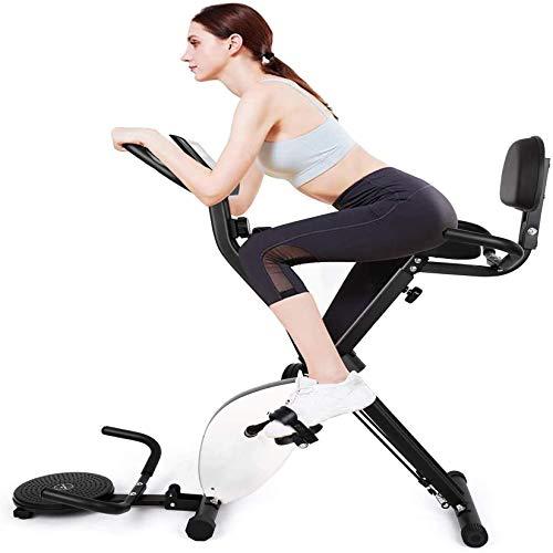 INTEY Bicicleta Estática Plegable con Bandas de Ejercicios y Disco Giratorio, 16 Niveles Resistencia Magnética Ajustable y Fitness Sillín de Gel, Pantalla LCD, Carga Máxima 100 kg