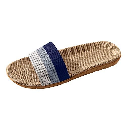Zapatillas Mujer/Hombre/Parejas casa verano abiertas de Lino playa moda Zapatillas mujer de vestir elegantes Zapatillas Interior Sandalias Unisex para Verano Primavera Otoño,Sandalias verano