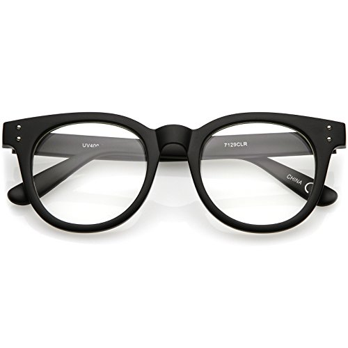 zeroUV - Classic Rivet Accent Wide Arms Clear Lens Horn Rimmed Eyeglasses 48mm (Matte Black/Clear)