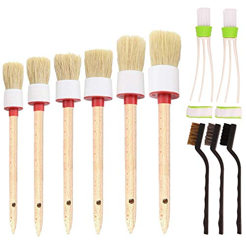 SUBANG 11 Pieces Car Cleaner Brush Set Including Detail Brush (Set of 6),3 pcs Wire Brush and 2 pcs Automotive Air Conditioner, Auto Detailing Brush for Cleaning Wheels, Interior, Exterior, Leather