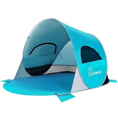 WolfWise UPF 50+ UV Schutz Strandmuschel, Pop Up Familien/ Baby Sonnenschutz Strandzelt, Selbstaufbauend Automatisch Schutzzelt Sonnenschirm, Tragbar (Blau 1)