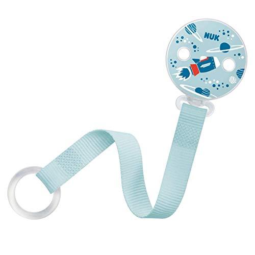 NUK Schnullerkette, für alle Schnuller mit und ohne Ring, 1 Stück, rakete/blau (Junge)