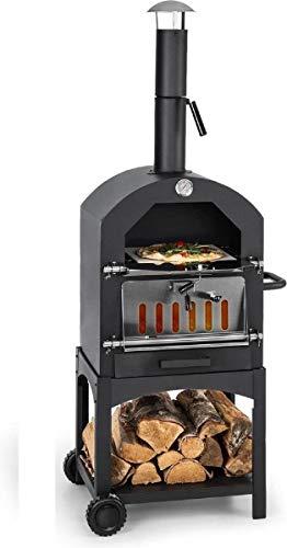 MaxxGarden Four à Pizza Extérieur - Au Charbon de Bois avec Pelle - Four de Jardin - 45 x 65 x 158cm