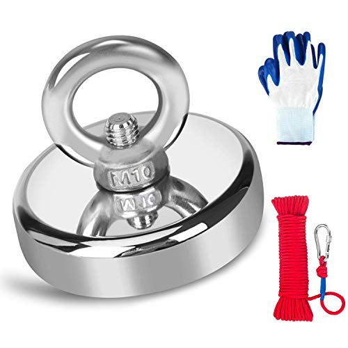 Fishing Magnet with Rope & Gloves, 600lbs Pulling Force Strong...