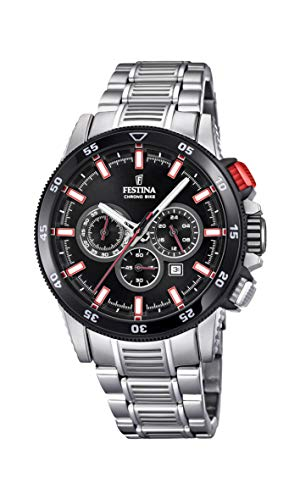 Festina Herren Chronograph Quarz Smart Watch Armbanduhr mit Edelstahl Armband F20352/4