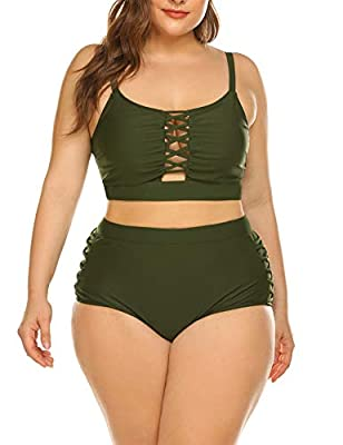 MATERIAL:82% nylon + 18% spandex, comfortable plus size swimwear to wear and swim. Our soft, durable and quick dry fabric makes our swimwear a timeless summer collection. DESIGN: Two piece of bathing suit with Good Elasticity, very soft and comfortab...