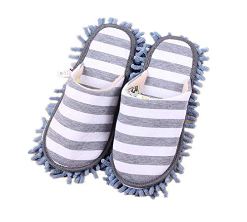 Turkoni Multifunction Unisex Cleaning Slippers, Detachable Mopping Shoes House Floor Cleaning Mop Microfiber Sole (Grey)
