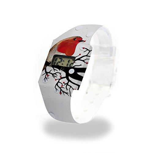 ROTKEHLCHEN - Pappwatch - Paperlike Watch - Digitale Armbanduhr im trendigen Design - aus absolut reissfestem und wasserabweisenden Tyvek® - Made in Germany, absolut reißfest und wasserabweisend