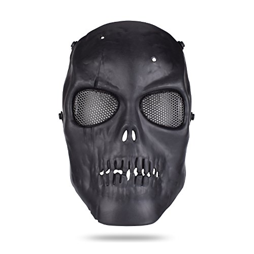 Freehawk Skull Skeleton Full Face Tactical Airsoft Paintball Cosplay Mask with Metal Mesh Eye Protection for Airsoft/Paintball/CS/BB Gun/Survival Games/Masquerade/Halloween/Cosplay (Black)