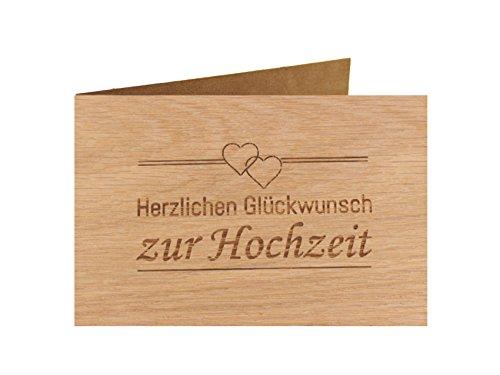 Holzgrußkarte - Hochzeitskarte - 100{52dd7be878ba8824f98b4ea367ad3b520834736ab4b37b02e8a9ae5298a3e693} handmade in Österreich - Postkarte Glückwunschkarte Geschenkkarte Grußkarte Klappkarte Karte Einladung, Motiv:HERZLICHEN GLÜCKWUNSCH ZUR HOCHZEIT Eiche