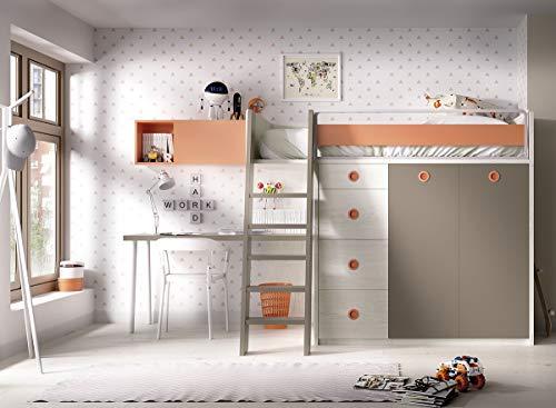 Hochbett Jump 314,Kleiderschrank,Holzleiter,Schreibtisch und Regalfach, freie Farbwahl