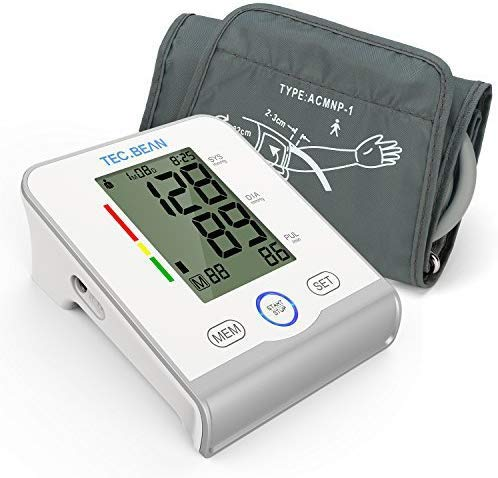 TEC.BEAN Arm Blood Pressure Monitor - Accurate, FDA Approved - Adjustable Cuff, Large Screen Display - Irregular Heartbeat & Hypertension Detector by Guard