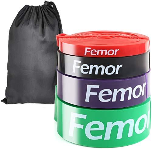 Femor Elastici Fitness, 2080 mm, Set di 4, Bande di Resistenza Fitness con 4 Livelli di Resistenza...