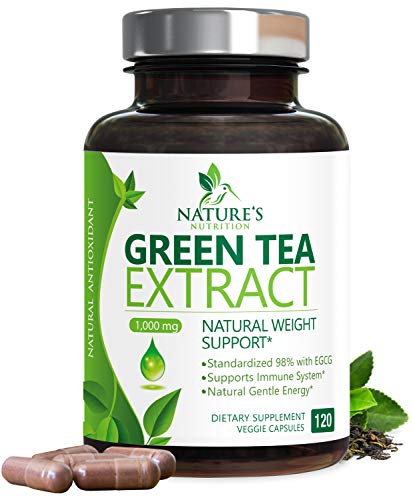 Green Tea Extract 98% Standardized EGCG Weight Loss 1000mg - Boost Metabolism for Healthy Heart - Antioxidants & Polyphenols - Gentle Caffeine, Fat Burner Pills, Made in USA - 120 Capsules 1