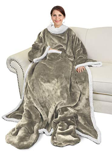 Catalonia Sherpa Wearable Blanket with Sleeves & Foot Pockets for Adult Women Men,Comfy Snuggle Wrap Sleeved Throw Blanket Robe,Gift Idea,Camel