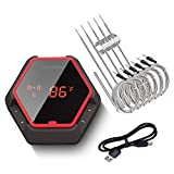 Inkbird Wireless Bluetooth BBQ Thermometer IBT-6XS, 6 Probes,Rechargeable Battery, Digital Cooking Grill Thermometer for Smoker,150ft Oven Meat Thermometer, Magnet, Timer, Alarm for Kitchen, Food, Red