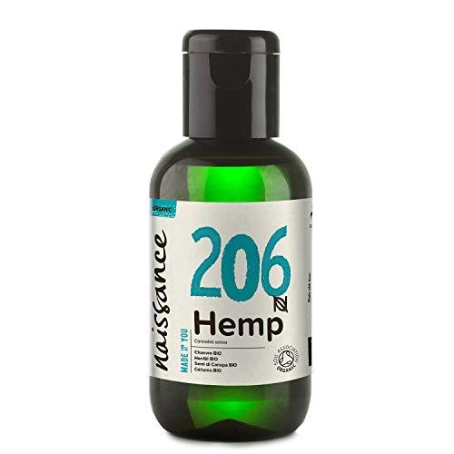 Naissance Aceite Vegetal de Semillas de Cáñamo BIO n. º 206-60ml - 100% puro, prensado en frío, virgen, certificado ecológico, vegano y no OGM