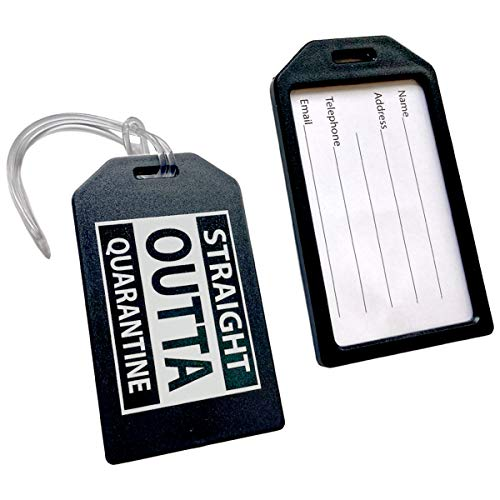 2 Pack - STRAIGHT OUTTA QUARANTINE Luggage Tags with Plastic...
