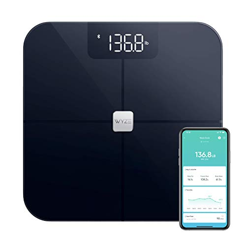 Wyze Scale, Bluetooth Body Fat Scale and Smart Body Composition Scale, Smart BMI Scale, Heart Rate Tracking, Body Fat Percentage Tracker, Analyze with Smartphone App, Black