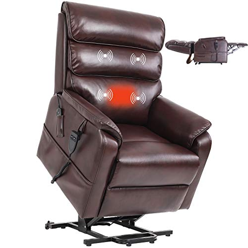 Jacky Home Lift Recliner Dual Motor Lay Flat Electric Power Chair with Massage and Heat for Elderly, Infinite Position Breathable Leather Heavy Duty Living Room Sturdy Sofa (Red Brown)