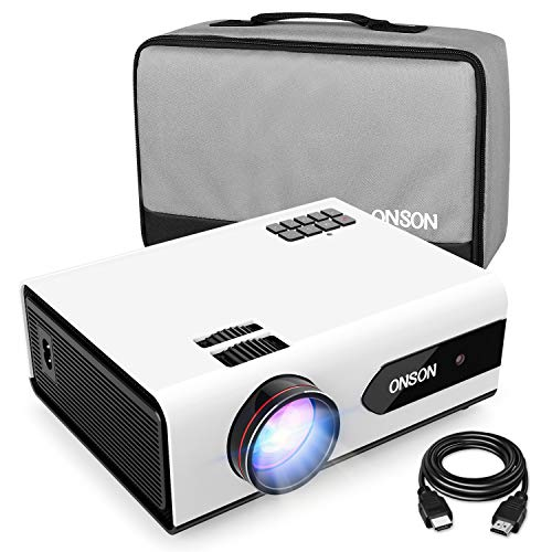 [2019 Upgrade] Mini Projector, 2800 Lux Portable Movie Projector with 50,000 Hours LED Lamp Life, Full HD 1080P Video Supported, Compatible with TV Stick, PS4, HDMI, VGA, TF/SD Card, AV and USB