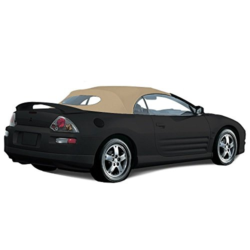 Compatible With Mitsubishi Eclipse Spyder Convertible Top 2000-2005 with Heated Glass Window in Stayfast Cloth (Tan)