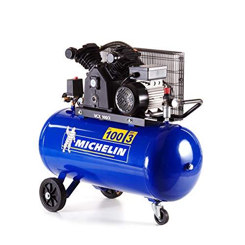 MICHELIN Compresseur d'Air VCX100/3 - Cuve 100 Litres - Moteur 3 cv - Pression Maximale 10 bar - Débit d'Air 350 l/min - 21 m³/h bleu