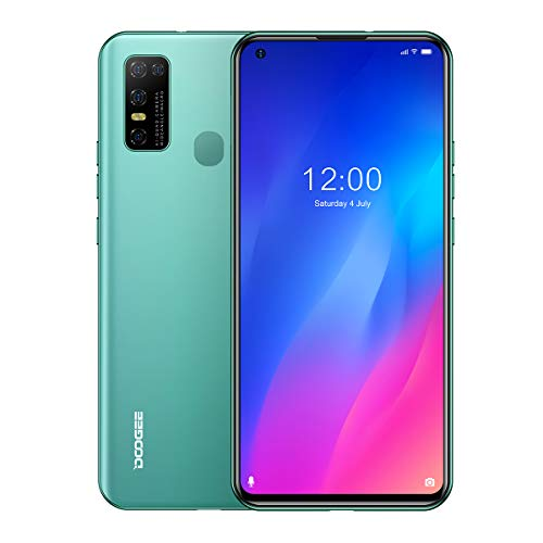 """DOOGEE N30 Unlocked Cell Phones(4GB+128GB) 6.55"""" FHD+Perforated Screen, 4500mAh High Capacity Battery Smartphone with 16MP AI Quad Camera, Android 10 and Dual 4G Volte(Elegant Green)"""