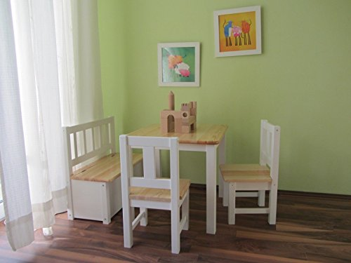 Best-of-JAM® Kindersitzgruppe 1x Kindertisch 2X Kinderstuhl 1x Kindersitzbank mit Deckelbremse Natur Weiß
