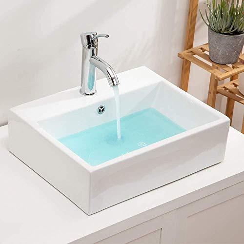 Rectangular Vessel Sink - Lordear 21'x16' Bathroom Vessel Sink Rectangle Wall Mounted White Porcelain Ceramic...